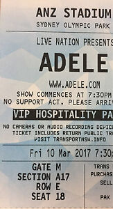 ADELE - 5 Rows from Stage VIP HOSPITALITY PACKAGE Sydney City Inner Sydney Preview