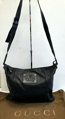 Vintage Gucci Black Leather Crossbody Bag