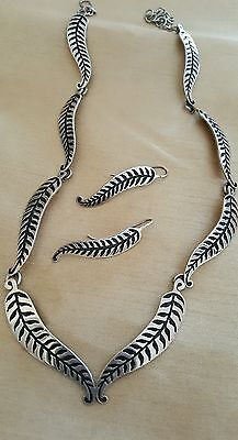 Signed Maria Belen Mexico 925 Sterling Silver Necklace Earrings Set Leaf Leaves