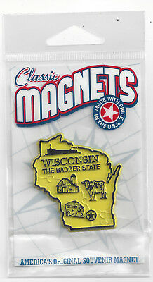"WISCONSIN  ""THE BADGER STATE""   OUTLINE MAP MAGNET in Souvenir Bag, NEW USA MADE"