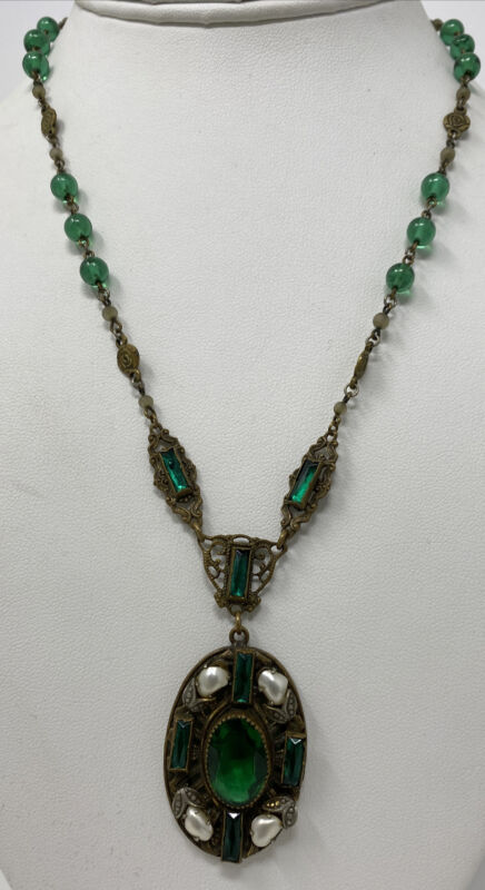 Vintage Czech Austro Hungarian Emerald Green Glass Crystal Pearl Necklace