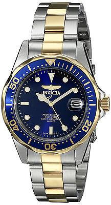 Invicta Reloj Men Watch Crystal Glass Gold Silver Hombre Pulsera Oro Plata Blue