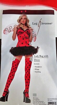 Sexy Lady Bug Halloween Costume Leg Avenue Adult Teen Size M/L 5 Piece - Lady Bug Costume Adult