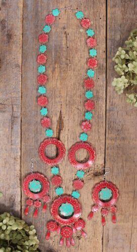 Necklace & Earring Set Hand Carved Gourd Flowers Mexico Folk Art Oaxaca Pinotepa