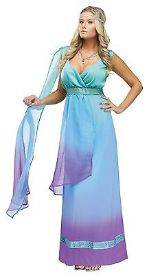 Womens Goddess Costume Long Blue Purple Fancy Dress Gown Egyptian Greek Adult