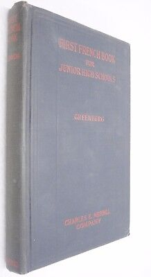First French Book for Junior High Schools by Jacob Greenberg 1923 Hardback Text