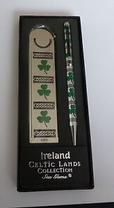 CELTIC-IRISH-SHAMROCK-PEN-AND-BOOKMARK-SET-IN-PRESENTATION-BOX
