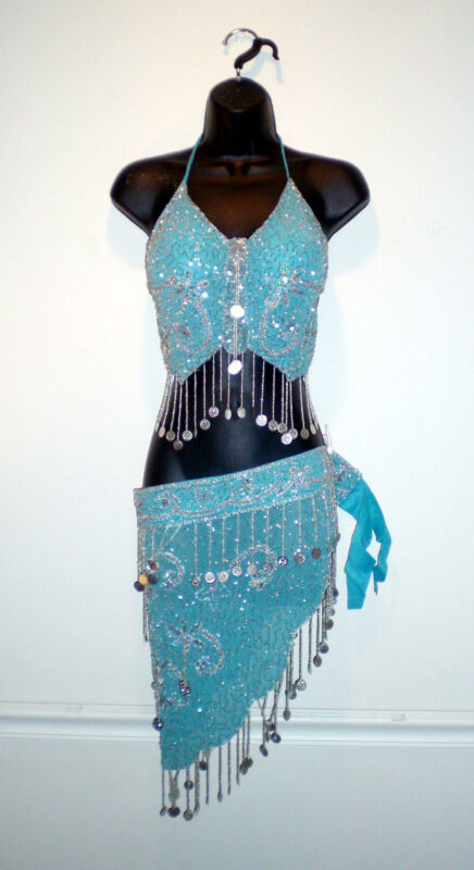 s/m/l/xl beautiful blue Belly Dance shiny Bellydance outfit skirt Costume dress
