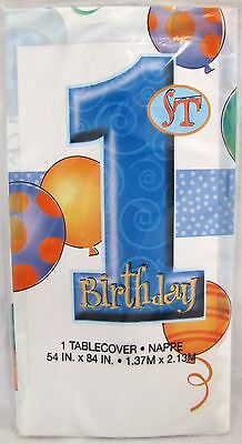 1st Birthday Blue Boy Baby First Plastic Tablecloth Balloons Party 54 in x 84 in - Blue Plastic Tablecloth