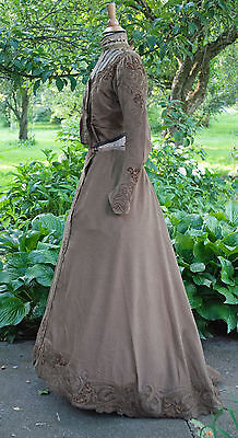ANTIQUE DRESS 1899 WALKING OUTFIT 2 - PIECE LABEL MME MONIN ROBRECHTS - EXELLES