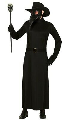 Mens Plague Doctor Costume Adult Black Death Halloween Fancy Dress Outfit 42-44