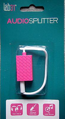 Stereo-Audio-Splitter 3.5 mm Klinkenstecker/Buchse 4-polig Farbe pink Splitter Stereo-audio