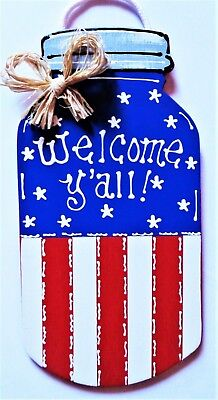 Mason Jar Art (Americana MASON JAR Welcome Y'all SIGN Wall Art Door Porch 4th July Plaque)