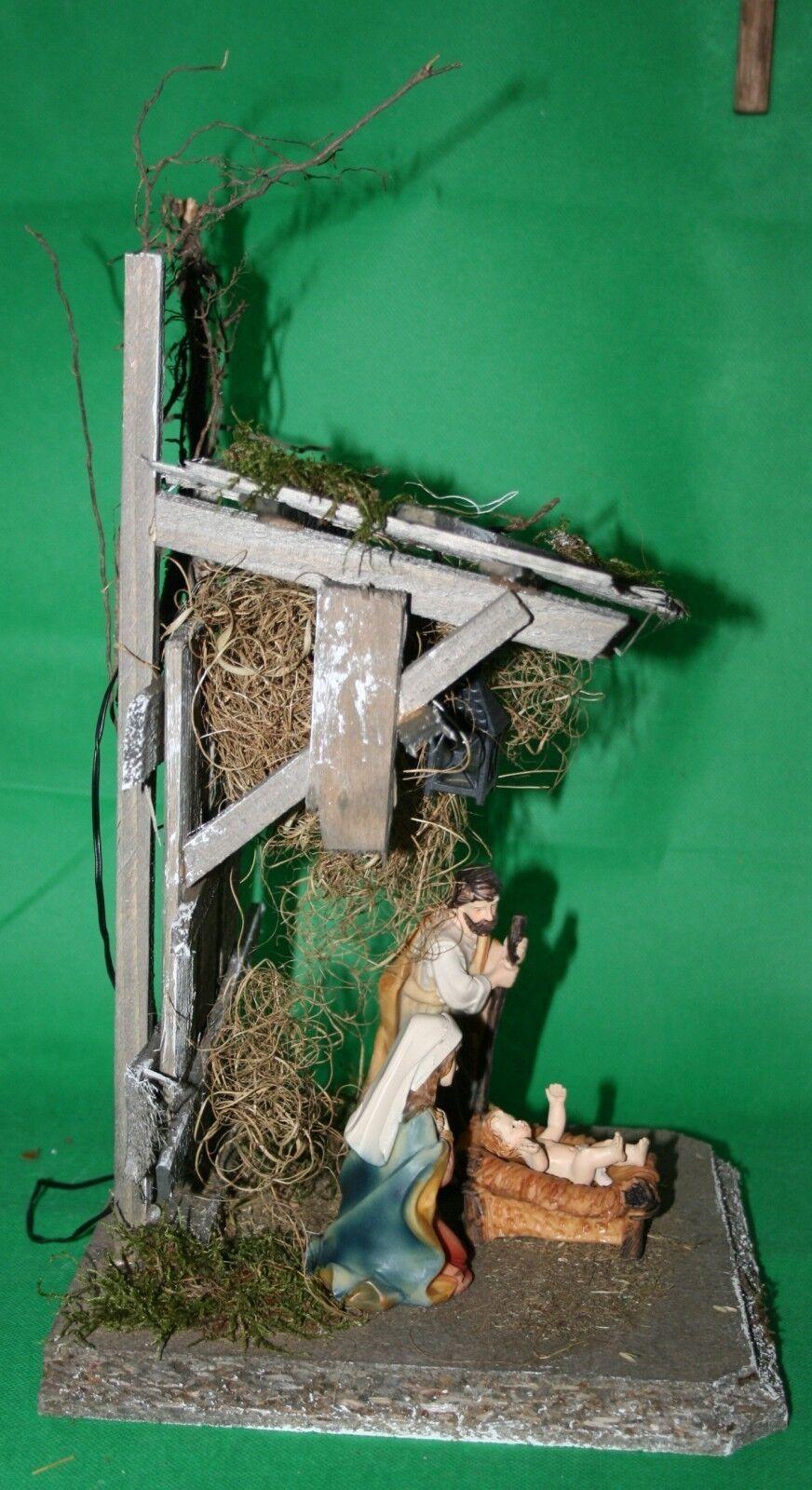krippe weihnachten holz mit figurenset heilige familie beleuchtung 34x20x20 cm eur 46 95. Black Bedroom Furniture Sets. Home Design Ideas