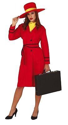 Carmen Sandiego Halloween (Ladies Carmen Sandiego Costume Red Halloween Fancy Dress Adult UK)