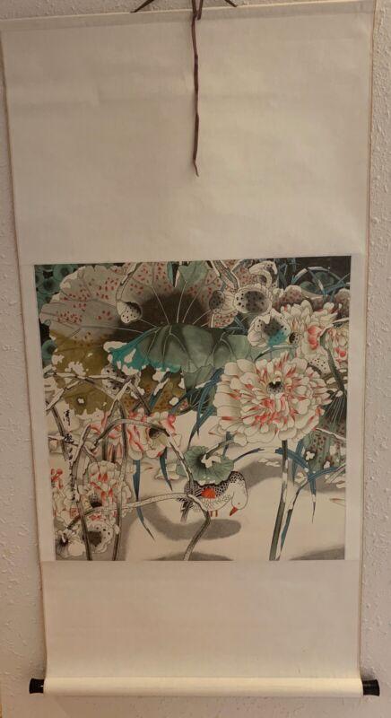 Hand painted Chinese scroll painting peonies and bird. Origonal Art.