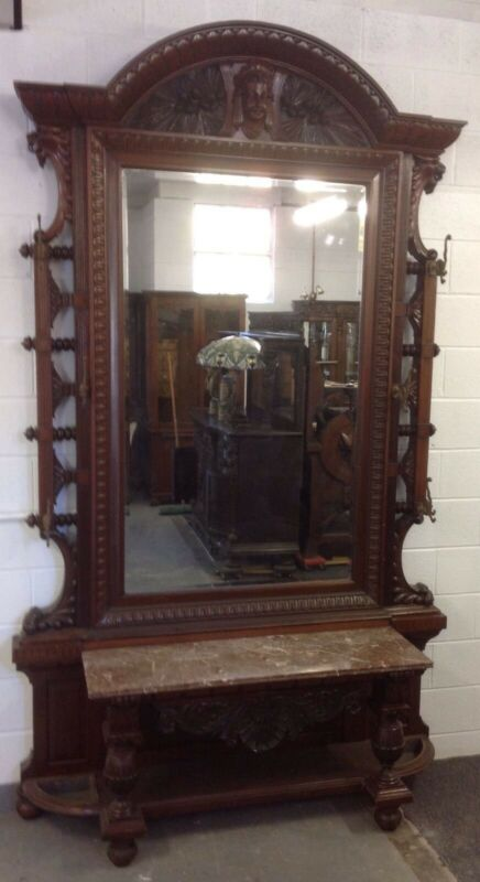 VICTORIAN WALNUT MARBLE TOP HALL MIRROR WITH JENNY LIND HEAD