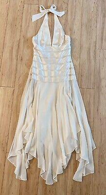 BCBG Maxazria Halter Silk Dress Size 0 Ivory Excellent Condition