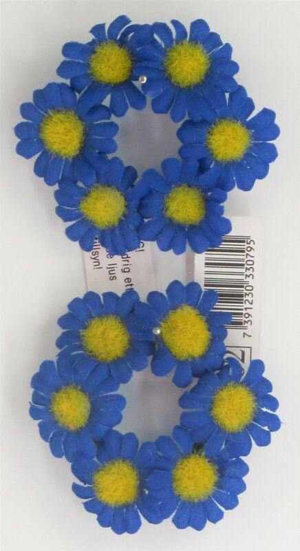 2 SCANDINAVIAN SWEDISH BLUE YELLOW FLOWER TAPER CANDLE RINGS WREATHS NAPKINS
