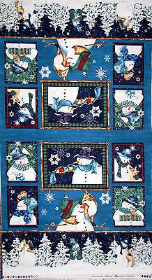 Christmas Fabric - Holiday Snowman Animal Clothworks Creature Comforts - Panel (Christmas Snowmen)