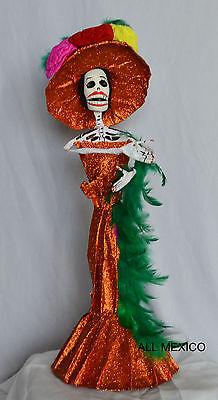 - Catrina Mexican Doll Day of Dead Paper Mache Dia de los Muertos Folk Art 90140 L