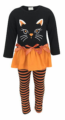 Girls Cat Halloween Costume Outfit Boutique Toddler Kids Clothes Top Pants Set