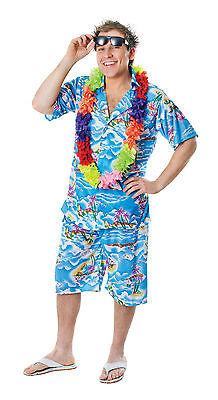 Hawaii Surfer Kostüm (Mens Hawaiian Shorts & Shirt Beach Fancy Dress Costume Hawaii Surfer Outfit New)