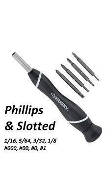 Husky Precision Screwdriver Kit Slotted Philips Bit Set PH000 PH00 +1.5 2.0 Flat
