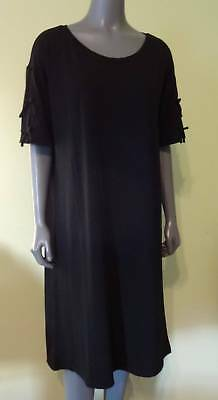 FABLETICS Yani Dress Split Tie Sleeves Jersey Knit Black Relaxed Fit 2X 20 NWT