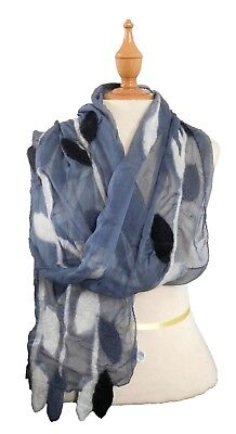 Felted Scarf (Handmade Felted Scarf: Merino Wool and Gray Silk Leaf Design  (NUNO Felt) )