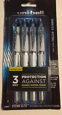 4--uni-ball Vision Elite Stick Roller Ball Pens Bold Point Black Ink 032118