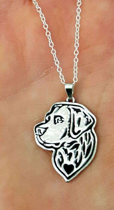 Labrador Dog Etched Silver Chain Charm Pendant Dog Necklace by Pashal