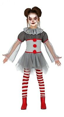 Girls Pennywise Fancy Dress Crazy Clown Kids Halloween Costume Outfit Ages 3-12
