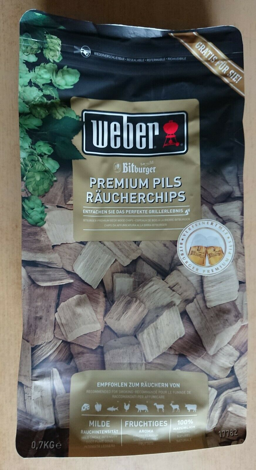 Weber Bitburger Premium Pils Räucherchips 0,7 kg Grill Smoker