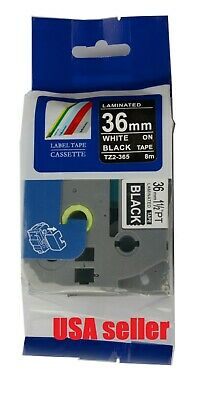 White On Black Tz 365 Tze-365 Label Maker Tape P Touch Compatible Brother 36mm