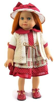 Red Hearts Dress & Hat for 18 inch American Girl Doll Clothes Christmas Heart Dress 18 Doll Clothes