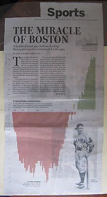 Boston Sunday Globe Clipping  8 17 2014  Boston Braves Comeback 100 Years Ago
