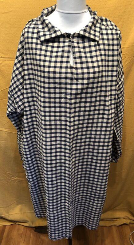 Extra Large Blue Check Homespun Longhunter Shirt, Mountain Man, Pirate, Colonial