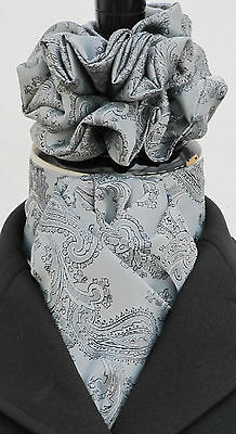 Ready Tied Silver Grey & Black Paisley Satin Riding Stock & Scrunchie - Show tie