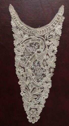 19th C. Brussels mixed Duchesse / point de gaze lace dress front Collect COSTUME