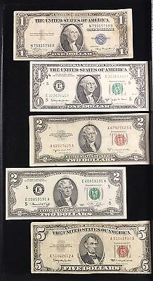 5 Note Lot $1 Blue Seal $1 Barr Note $2 - 1976 Note $2 Red Seal $5 Red Seal