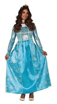 Ladies Elsa Costume Adult Womens Frozen Fancy Dress Princess Outfit UK - Womens Elsa Kostüm