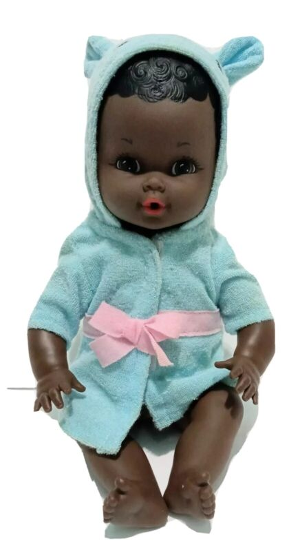 """Unbranded African American AA Baby Girl Doll Made In Hong Kong  12"""""""