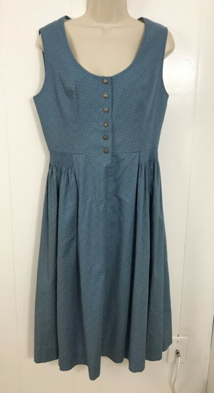 Vintage Eger Dirdnl Dress 42 Blue White Floral Modest Long Dress Germany Cotton