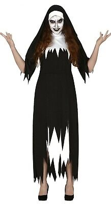 Ladies Scary Ghost Nun Costume Halloween Fancy Dress Evil Outfit Large UK 14-16