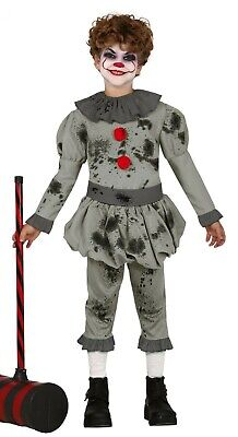 Boys IT Pennywise Fancy Dress Crazy Clown Kids Halloween Costume Ages 3-12 - Crazy Clown Costume