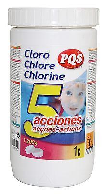 Cloro 5 acciones PQS para piscina. Bote 1 kg
