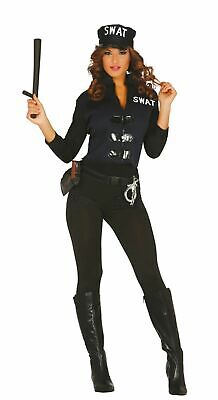 Adult Swat Sexy Cop Halloween Costume Ladies Police Uniform Fancy Dress  - Ladies Swat Costume