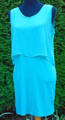 Metaphor Teal Chiffon Top Jersey Knit Body Conscious Tank Dress NWT Size Medium Jersey Knit Body