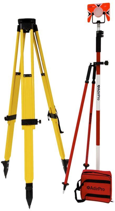 Surveying Starter Kit Fiberglass Tripod, Metal Prism, Bipod, 8.5 Prism Pole, Bag